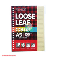 Kertas Binder Note Loose Leaf A5 isi 100 Warna Kuning Pastel 20 Lubang