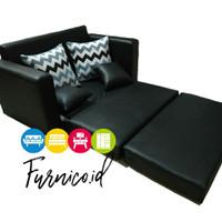 sofabed oscar 200x140x60 sofa bed kulit minimalis busa Hitam PROMO
