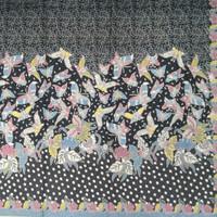 Kain Batik Motif Kupu Bahan Katun Halus - Hitam Biru