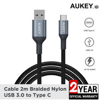 Aukey Cable CB-CD40 2m Braided Nylon USB 3.0 to Type C Grey - 500427