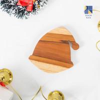 Wooden Coaster Christmas Edition / Tatakan Gelas Natal - Santa Coaster
