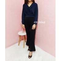Blouse Wanita Flowy Top Outfit Office Casual Kimono Longsleeve - Biru
