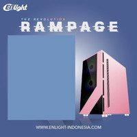 CASING ENLIGHT RAMPAGE - BLACK PINK TEMPERED GLASS GAMING CASE 4 FAN