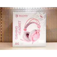Headset Gaming Sades A6 7.1 Surround Sound - Merah Muda