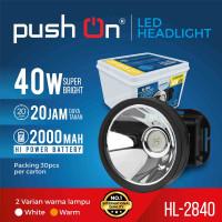Senter Kepala / Headlamp LED Dimmer 40watt Putih HL-2840 PUSH ON