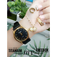 Set Jam Tangan Dewasa Gold Hitam - Set