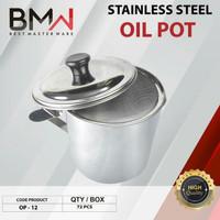 Oil Pot Stainless 1200 Ml Saringan Minyak Tempat Minyak 12CM Serbaguna