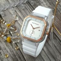 Jam Tangan Wanita HP Rubber uk 40mm (detik dibawah/tanggal aktif) - Putih