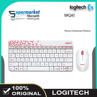 Logitech MK240 Mouse Keyboard Combo Wireless Keyboard Laptop PC - Putih