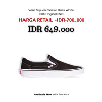 Sepatu Vans Slip On Classic Black White Original BNIBWT