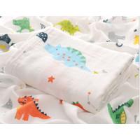 Kain Selimut Bamboo Muslin Blanket Baby Swaddle Bedong Bayi - Dinosaur