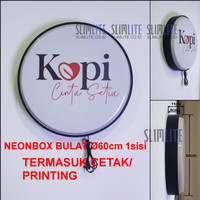 Neon Box bulat Ø60cm 1sisi/Capsule Light RF80 VF-1s Ø60cm + Printing