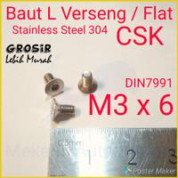 Baut L Flat M3 x 6 Verseng SUS304