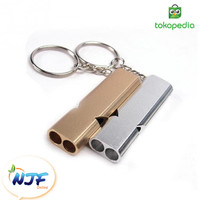 Gantungan Kunci Mobil Motor Peluit Survival Emergency Whistle Keychain - Gold