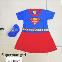 Kostum Setelan Superman Anak / Stelan Supergirl Perempuan Dress Kaos