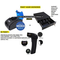 PAKET KASIR [PRINTER BLUETOOTH + CASH DRAWER + BARCODE SCANNER+KERTAS]