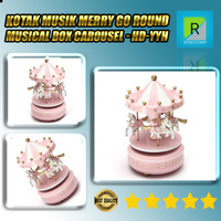 Kotak Musik Merry Musical Box Carousel - HD-YYH - Pink