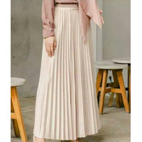 Violleta Ols - Rok Plisket Tiara/Rok Panjang Wanita/Fashion Muslim - Cream Susu