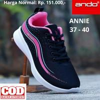 Sepatu Sekolah Wanita Ando Nara Sneaker Olahraga Running 33-40 - 40, HITAM PINK