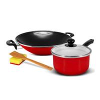 KUKINA Wajan Ceria Enamel 35cm & Saucepan 18cm - Red