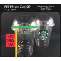 Plastic Cup PET / Gelas PET 16 Oz + Dome Lid @50 Pcs SIP 98.5