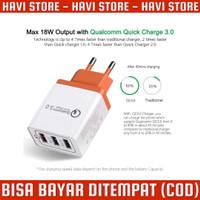 Taffware Charger USB Handphone - 3 Port Qualcomm QC 3.0 - Fast Chargin
