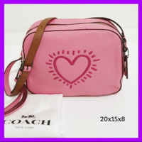 Ready Sale Coach Hearing Heart Camera Bag Color Pink. Branded Murah