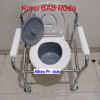 Kursi Bab Lansia Lipat Roda / Kursi Puk Commode Chair Pispot Roda