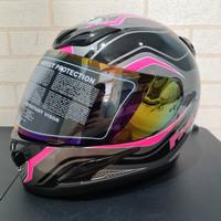 Helm JPN fullface F3 maxx hitam gloss stiker pink