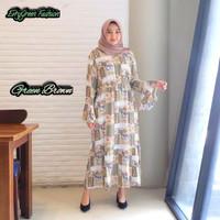 Gamis kyara maxi | gamis rayon | Dress terbaru | dress motif Bunga - Green Brown