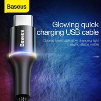 KABEL DATA LED BASEUS HALO FAST CHARGING IPHONE/MICRO USB/TYPE-C 1M - Hitam, TYPE C