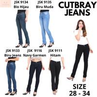 Celana Jeans Panjang Model Cutbray Long Pants Cutbray Wanita Women - Hitam, 28