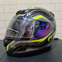 Helm JPN fullface F3 maxx hitam gloss stiker kuning