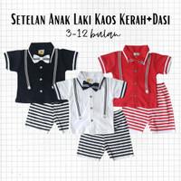 Baju Setelan Pesta Anak Bayi Laki Cowok Kaos Kerah Dasi Celana Garis