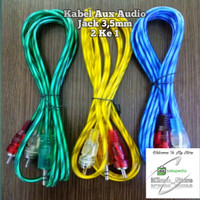 Kabel Aux Audio / RCA Transparan Jack 3,5mm 2 ke 1 / 1 Ke 2