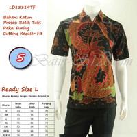 Baju Batik Tulis Pria Lengan Pendek Hem Kemeja Asli Original Solo - No.5 Size L