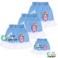 rok jeans tutu anak 1-7 tahun - Biru Muda, 1tahun