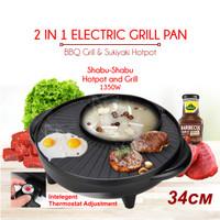 Panci Hotpot BBQ 2in1 Elektrik 34 cm Shabu Steampot Suki Grill Listrik