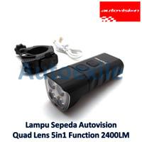 Autovision Lampu Sorot Sepeda Premium LED Quad Lens Putih 5 Mode USB