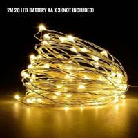 Lampu LED Natal (2 meter) Kawat Tembaga Copper Wire Battery - rgb