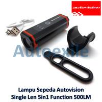 Autovision Lampu Sorot Sepeda Premium LED Single Lens Putih 5 Mode USB