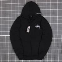 Sweater Hoodie Zipper STUSSY Premium Unisex HYPEBEAST - Hitam, M