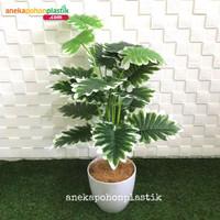 Pohon Daun Yui X18 Latex Artificial Pot Melamine Tanaman Plastik Unik