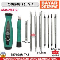 Obeng Set 16 in1 Chrome Vanadium Magnet plus Pouch Canvas Tebal 10 pcs