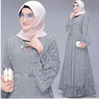 Baju Gamis Muslim Wanita Maxi Dress Brukat Busui Friendly Size M-L-XL