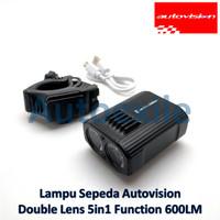 Autovision Lampu Sorot Sepeda Premium LED Double Lens Putih 5 Mode USB