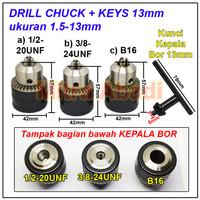 Kepala Bor / Drill Chuck 1,5 - 13 mm + Kunci 13 mm