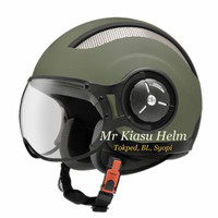 Helm Zeus 218 retro pilot matt green olive army list black hijau doff