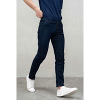 Celana Jeans panjang Denim slim fit pria biru gelap stretch melar