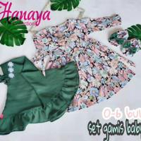 Set Gamis Baby Boots 6-15 Bulan Baju Muslim Anak Bayi Balita Jilbab